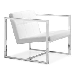 Zuo Modern - Carbon Chair White - With a perfectly angled seat and back, the Carbon has soft leatherette tufting wrapped in a square chrome steel tube frame.