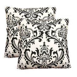 EORC - PLCP318X18 Black & White Damask 18-inch Decorative Cotton Pillows (Set of 2) - Update the look of your sofa with these decorative pillows. Each set comes with two matching pieces to give your room a burst of color.
