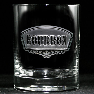 Crystal Imagery, Inc. - Bourbon Banner Glass, Set of 4 Engraved - Gentlemen (and ladies, too) will appreciate this set of four engraved banner glasses etched with the word: Bourbon. An ideal choice for any bourbon lover, the glasses are made from high-quality, dishwasher-safe glass in a double old-fashioned size and feature a patterned, reflective base.