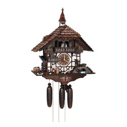 Schneider Cuckoo Clocks - 8-Day 18.1 in. Black Forest House Cuckoo Clock in Antique Finish - Chalet style. Two melodies. Automatic night shut-off switch. Cuckoo calls bell in tower rings. 8-day rack strike movement. Wooden cuckoo calls and strikes every half and full hour. Four dancing figurines or couples and stop strike device. Wooden cuckoo, dial with roman numerals and hands. Solid wood hand crafted and hand painted dancing couples. Moving wood chopper and sawing machine, music and dancers. Water wheel rotates and wood saw works when music plays on the full hour. Made from wood. Made in Germany. 18.1 in. W x 11.4 in. D x 23.6 in. H (23.8 lbs.). Care Instructions