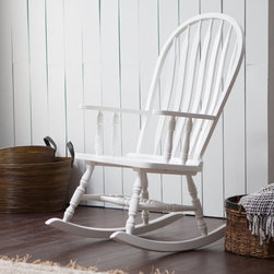 Belham Living - Belham Living Windsor Rocking Chair - White - R1523N-WHT - Shop for Rocking from Hayneedle.com! The Windsor Rocking Chair White is made for easy livin'. Its classic design offers a style that never strays from the front porch. This rocking chair features an all-wood construction and crisp white finish for a clean look to brighten up any setting. A bowed slat back and spacious seat provide outstanding comfort. Classic spindle legs and braces enhance its timeless look. Use this rocker to add a relaxing space in any nursery or living room. When the days are nice give it a whirl on the front porch and rock away any stress that overstays its welcome.