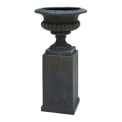 Benzara - Fiber Stone Urn in Stylish and Trendy Black Color - Set of 2 - Tremendously stylish and trendy, the fiber stone urn set of 2 is an excellent addition to your contemporary living room, bedroom or backyard. The stone urn is available in a set of two and is both useful and adds style to your home or outdoor decor. High quality fiber stone makes it durable and long lasting. Exquisite attention to detail and clean lines make this urn set a must have. Sophistication exudes out of the set and it brings an air of opulence to your decor. You can place it as casual accessories in your office to reflect your sophisticated taste in office decor. Small plants can be placed in the urn to enhance your office decor. It is available in 2 size variants - 24 in.  H x 13 in.  W x 13 in.  D, 18 in.  H x 21 in.  W x 21 in.  D.