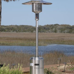 """Fire Sense 01775 Stainless Steel Commercial Patio Heater - Heater Features:Commercial grade 304 Stainless steel frame, rich brushed finishUnique """"Pilotless System"""" - Single stage ignition processElectronic ignitionDurable stainless steel burners & double mantle heating gridSuperior engineered fuel chamber for cleaner, more complete fuel burnUses standard 20 lb LPG BBQ tank - NOT INCLUDEDSafety auto shut off tilt valveWeighted base for stabilityWheel assembly includedPatented aluminum reflector hoodSpecifications:46,000 BTU'sHeat Range: up to 18 ft. diameterAssembled Dimensions: 18"""" Base, 33"""" 5 Pc. Hood and 89"""" HeightWeight: 51 lbsCSA Approved"""