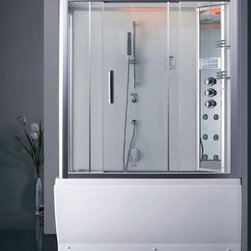Ariel - Ariel Platinum DA328F3 R Steam Shower with Whirlpool Bathtub - These fully loaded steam showers include a whirlpool bathtub, massage jets, chromotherapy, aromatherapy and built in FM Radio for Easy Listening s to help increase your therapeutic experience. Dimensions: 59 x 32 x 87.4, ETL listed (US & Canada electrical safety) 220v, Computer control panel w/ timer for easy use, Steam sauna (3KW generator), 6 Body Jets  14 whirlpool massage jets (1.2HP pump / 59 gal tub), Handheld and Rainfall Showerhead for Ultimate Experience, Overheat protection, Ventilation fan, FM Radio for Easy Listening , Available in left / right versions, 110V Whirlpool Tub System