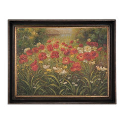Uttermost - Field of Wildflowers Floral Art - When you cannot have the real thing, only the best reproductions will do. Monet may have influenced this beautiful painting as he loved his garden in Giverny, France, and painted it often. This is a hand-painted oil on canvas in a handsome brown and black distressed frame. The inner lip is antique gold with brown distressing to give a sense of antiquity and depth.
