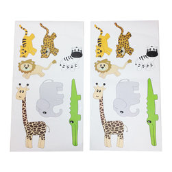 Jazzie Jungle Boy - Wall Decals - Set of 2 - Wall decals bring all the jungle animals to life!  Decals include: (Elephant, Cheetah, Lion, Tiger, Alligator, Zebra and Giraffe)!