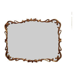 Pre-owned Hollywood Regency Mirror - A vintage gold Hollywood Regency mirror. This fabulous mirror features bold color and subtle design. It is quite dashing and will be sure to add a glamorous touch to your room.