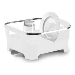 Umbra - Umbra Basin Dish Drying Rack, White - A modern styling and a clever, multi-functional design. Available in a variety of fashion colors such as this glossy white, Basin is constructed of durable, easy-to-clean, BPA-free molded material with a high-gloss exterior finish and a sleek chrome-plated metal rim. Trough is removable for easy cleaning. Designed with sturdy, generous handles for maximum portability.