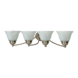Satco - Satco 60/3207 Empire ES Energy Efficient Traditional Bathroom / Vanity Light - Brushed Nickel is accented by Alabaster glass in this complete product grouping which offers a fixture for every application