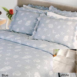 None - Seaspray Coverlet (Shams Sold Separately) - This cute coverlet set lets you dream of summer vacations throughout the year. It features a pattern of beach items,making it a perfect complement to a nautical-themed room. The cotton material is durable and feels soft against the skin.