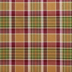 Purple and Green Country Plaid Upholstery Fabric By The Yard - This upholstery fabric is great for all indoor upholstery, bedding, window treatments and fabric related projects. This material combines luxury with durability. It will truly look great on any piece of furniture.
