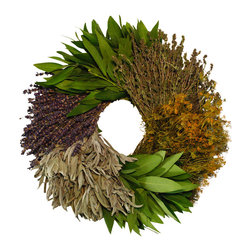 Creekside Farms - Kitchen Herb Wreath - This fragrant wreath contains six different culinary herbs -- bay, dried savory, dill, sage and lavender.