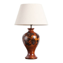 ParrotUncle - Classic Solid Wood Pot Table Lamp With Floral Leaf Painting - The vase shape table lamp is pleasing in form and engraved with delicate and traditional plants designs. Classic solid wood table lamp with floral leaf shape