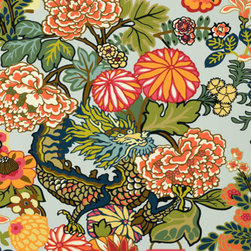 Schumacher - Chiang Mai Dragon Wallpaper - Reminiscent of the city in Thailand it's named after, this dragon wallpaper brings a hint of the exotic into your home. Inspired by 1920s art deco style and designed by F. Schumacher, it is sure to impart grace and elegance wherever it hangs.