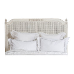 Eloquence - Blanka French Country White Washed Elegant Caned Queen Headboard - Lay down for sweet dreams against this classic French-style headboard. Simplicity at its finest, this caned, whitewashed piece will provide the sense of peace you need to drift off to the Land of Nod.