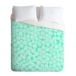 DENY Designs - Joy Laforme Dahlias Seafoam Duvet Cover - Turn your basic, boring down comforter into the super stylish focal point of your bedroom. Our Luxe Duvet is made from a heavy-weight luxurious woven polyester with a 50% cotton/50% polyester cream bottom. It also includes a hidden zipper with interior corner ties to secure your comforter. it's comfy, fade-resistant, and custom printed for each and every customer.