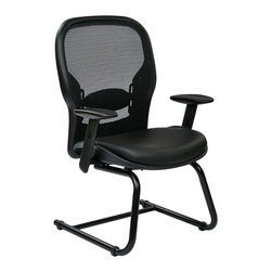 Office Star - Office Star 24 Series Breathable Mesh Back Guest Chair in Black - Office Star - Guest chairs - 2405E - Space seating Breathable mesh back and Eco leather seat visitors chair. design to fit to almost any office setting the office star guest chair can be suitable for reception areas or waiting rooms.