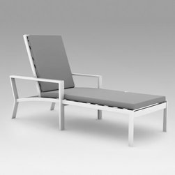 Koverton Parkview Outdoor Chaise Lounge - Additional features:Seat height: 12.5 inchesChaise lounge weight: 36 lbs.Ships fully assembledHose off to clean, clean cushions w/ mild soap and waterSunbrella fabric options with the Quick Ship prefixwill ship in 5 business days, all others will ship in 10 days10-year structural limited warranty on frame when used in a residential setting3-year limited warranty on frame finish when usedin a residential settingHow about a relaxing siesta outdoors on a beautiful summer afternoon? All you need to do is sink into the Koverton Parkview Outdoor Wicker Chaise Lounge and give in to leisurely comfort. Reline the adjustable back just the way you want to enjoy maximum lumbar support, even as the Sunbrella cushions offer luxurious comfort. Featuring subtle curves, graceful lines, and a contemporary design, this chaise lounge features a durable, welded aluminum frame in high-gloss black or white powder coat finish with black or white woven resin wicker inserts. Mix, match, or contrast the frame color with the wicker color to make a unique look for your outdoor seating area! The weather- and stain-resistant Sunbrella outdoor cushions come in a choice of colors to brighten up any setting. Sturdily built to defy the elements, this chaise lounge is designed to stay as beautiful as ever, even after seasons of use.Please note: Sunbrella fabric options with the Quick Ship prefix will ship in 5 business days, all others will ship in 10 days.Recommended care for metal frame: Simply hose off to clean metal frames or wash with a solution of mild soap and water, rinse with clear water, and dry thoroughly. To all metal frames, apply a fine, clear automobile max for maximum protection against harmful ultraviolet exposure and salt air. For best protection, perform this maintenance two or three times per year in low pollution areas or more frequently in high pollution areas. These durable materials can be safely cleaned as often as desired. To prolong the life of furniture and keep it looking its best, store or cover it when not in use for an extended period of time.Recommended care for resin wicker inserts: Woven inserts are made of durable, weatherproof extruded polyethylene resin. Light stains and soils may be removed with a solution of mild detergent and water, rinsed with clear water and dried thoroughly. Mildew and heavy stains can be removed with a quality commercial outdoor furniture cleaner and protectant.About SunbrellaSunbrella has been the leader in performance fabrics for over 45 years. Impeccable quality, sophisticated styling and best-in-class warranties prove the new generation of Sunbrella offers more possibilities than ever. Sunbrella fabrics are breathable and water-repellant. If kept dry, they will not support the growth of mildew as natural fibers will. Beautiful and durable, Sunbrella is a name you can trust in your outdoor furniture.Cleaning and Caring for SunbrellaRegular maintenance is the best way to keep your Sunbrella fabrics looking good and delay deep, vigorous cleaning. Brush off dirt before it becomes embedded in the fabrics, and wipe up spills as soon as they occur. For light cleaning, use a mild soap and water solution and a sponge, allowing your cleaning solution to soak into the fabric. Rinse thoroughly to remove all soap residue and allow fabric to air dry. Mildew and heavy stains can be removed with a quality commercial outdoor furniture cleaner and protectant. Do not dry clean or use a washing machine or dryer. Do not steam or use water at temperatures above 100°F when washing. Do not let the cushions come into contact with furniture cleaners. Do not use chlorine based cleaners. For more specifics on maintaining Sunbrella fabrics, visit Sunbrella.com.About Koverton A leading manufacturer of quality patio furniture, Koverton is synonymous with exceptional craftsmanship and innovative designs. Fueled by fresh outlook in the industry and the passion to make timeless pieces, Koverton's product collections are designed to appeal to all markets and tastes. Featuring understated lines and sleek designs that are coalesced to form unique, transitional furnishings, Koverton takes immense pride in outdoor patio furniture with unsurpassed quality and aesthetic originality.