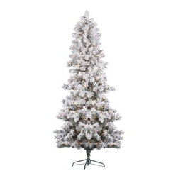 Vickerman Flocked White Pine Pre-Lit Christmas Tree - The Vickerman Flocked White Pine Pre-Lit Christmas Tree is the vision of a pine tree bathed in moonlight on a winter's eve. White flocked PVC branches gives this pine tree a realistic look and feel while the abundance of tips adds to the fullness of the tree. Available in your choice of size, this beautifully crafted tree is a gorgeous addition to any home or office. Specifications for 6-Foot Tree Shape: Medium Base Width: 38 inches Number of Bulbs: 300 Number of Tips: 412 Specifications for 7-Foot Tree Shape: Medium Base Width: 45 inches Number of Bulbs: 450 Number of Tips: 634 Specifications for 9-Foot Tree Shape: Medium Base Width: 62 inches Number of Bulbs: 700 Number of Tips: 1162 Don't Forget to Fluff!Simply start at the top and work in a spiral motion down the tree. For best results, you'll want to start from the inside and work out, making sure to touch every branch, positioning them up and down in a variety of ways, checking for any open spaces as you go.As you work your way down, the spiral motion will ensure that you won't have any gaps. And by touching every branch you'll make the desired full, natural look. About VickermanThis product is proudly made by Vickerman; a leader in high quality holiday decor. Founded in 1940; the Vickerman Company has established itself as an innovative company dedicated to exceeding the expectations of their customers. With a wide variety of remarkably realistic looking foliage; greenery and beautiful trees; Vickerman is a name you can trust for helping you make beloved holiday memories year after year.