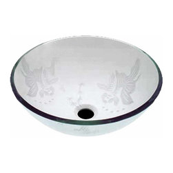 Renovators Supply - Vessel Sinks Frosted/Etched Glass Koi Fish Round Vessel Sink | 12881 - Glass Vessel Sinks: Single Layer Frosted and Etched Tempered glass sinks are five times stronger than glass, 1/2 inch thick, withstand up to 350 F degrees, can resist moderate to high degrees of impact and are stain-proof. Ready to install this package includes FREE 100% solid brass chrome-plated pop-up drain, FREE machined 100% solid brass chrome-plated mounting ring and silicone gasket. Measures 16 1/2 inch diameter x 6 inch deep x 1/2 inch thick.