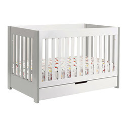 Babyletto Mercer 3-in-1 Convertible Crib with Toddler Rail, Gray/White - A storage drawer is never a bad idea! And the gray sides add a unique touch.