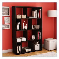 South Shore - South Shore Reveal Large Bookcase in Chocolate - South Shore - Bookcases - 5159730 - This multi-functional Reveal Shelving Unit in Chocolate finish is characterized by its versatility; it can be placed flat against the wall like a bookshelf perpendicular to the wall to act as a room divider or on its side. Whether for a need of privacy or extra storage, it will certainly add a touch of originality to any room. Combine more than one and place them side by side for additional storage possibilities. Its modern design will certainly attract attention in your contemporary decor! Accessories not included.