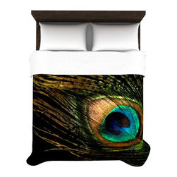 Flock Together Duvet Cover - You could say that this duvet cover is peacocking, what with its eye-catching peacock feather design and head-turning peacock black and multicolor hues. Created out of a soft microfiber material, the duvet is extremely comfortable and makes a stylish focal point and bedroom canvas.