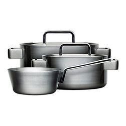 Iittala - Iittala Tools 5-Piece Cookware Set by B. Dahlstrom - Set includes the following pieces:     (01) 1 qt. Sauteuse, Model#TC162142     (01) 3 qt. Casserole with lid Model#TC1623121    (01) 5 qt. Stock Pot with lid Model#TC1625521ComPouchesnd multi-layer technology for better conductivity Brushed stainless steel exterior Interior stainless steel 18/10 Suitable for gas, induction, glass-ceramic and electric range Dishwasher safe.r