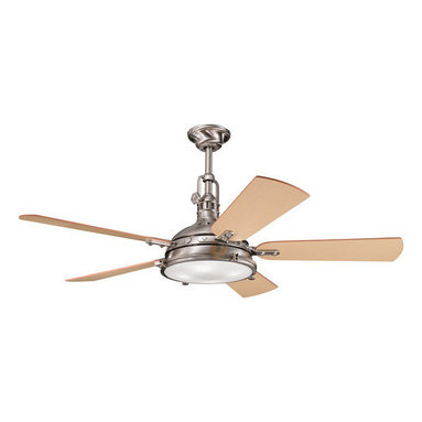"""Kichler - Kichler 300018BSS Brushed Stainless Steel Hatteras Bay 56"""" Indoor - Included Components:  3-Speed indoor ceiling fan 5 Wooden fan blades 4-Bulb light kit Portable Cool-Touch remote control with wall mounting kit 12"""" Down rod  Fan Features:  Fan is fully covered under Kichler s limited lifetime warranty Fan housing features all-metal construction Sturdy solid wood blades provide a lifetime of beauty Blades are reversible - giving maximum aesthetic versatility Hanging canopy style - compatible with downrods ranging from 6"""" - 72"""" (12"""" downrod included) 3 Speed options - operates in both forward and reverse Portable control panel for on/off and speed adjustment (comes with wall docking) Included 4-bulb light kit - makes for an all-in-one installation package 78"""" Lead wire included Secure mounting assembly enhances fan s safety  Fan Specifications:  Motor Size: 188mm x 25mm Fan Speeds: 3 Height: 22.5"""" (measured from ceiling to bottom most point on fan fixture) Blade Sweep: 56"""" (total fixture width) Blade Pitch: 14-degrees Location Rating: Dry / Inside Airflow on High: 5515 CFM (cubic feet per minute) Watts on High: 160 (excludes light wattage) Voltage: 120 V Light Direction: Down Lighting Bulb Type: Halogen  Bulb Compatibility and Base:  Bulb Base - Bi Pin : The bi pin, or  bipin socket , is a standard from the IEC (International Electrotechnical Commission) for lamp fittings. These are used on many small incandescent light bulbs.  About Kichler Kichler has been an industry leader in the lighting industry for nearly a century. They believe that products you choose for your home should no"""