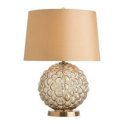 Arteriors - Jasmine Lamp - A bubbled surface created with a glass mold and a big breath. The subtle caramel luster finish is luxurious when paired with the antique brass base and 100% gold silk shade lined in white cotton. Takes one 150 watt three-way bulb.
