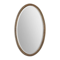 "Uttermost - Uttermost 12885  Beadel Oval Mirrors - This oversized, oval mirror features a beaded frame with a lightly antiqued, gold leaf finish and a gray wash. mirror has a generous 1 1/4"" bevel. may be hung horizontal or vertical."