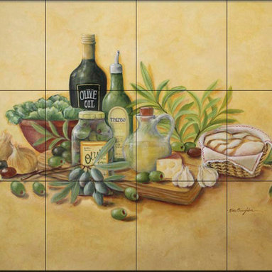 The Tile Mural Store (USA) - Tile Mural - Tuscan Bounty - Rb - Kitchen Backsplash Ideas - This beautiful artwork by Rita Broughton has been digitally reproduced for tiles and depicts olive oil and olives in a jar with grapes and garlic  Our kitchen tile murals are perfect to use as part of your kitchen backsplash tile project. Add interest to your kitchen backsplash wall with a decorative tile mural. If you are remodeling your kitchen or building a new home, install a tile mural above your stove top or install a tile mural above your sink. Adding a decorative tile mural to your backsplash is a wonderful idea and will liven up the space behind your cooktop or sink.