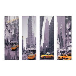Oriental Furniture - New York Taxi Canvas Wall Art - Set of 4 - A set of four black and white art prints, three photographs and one collage, featuring many of New York City's most recognizable landmarks. Colorized iconic yellow taxis draw the collection of art prints together. Images are printed onto quality canvas stretched over mitered wood frames. For a large wall, hang the entire set in line or staggered; for smaller spaces, use singly or in pairs.