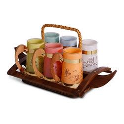 Siesta Ware - Pastel Siesta Ware Barware Set - 8 h x 16-5-w x 9-5 d