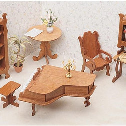 Greenleaf - Greenleaf Library Furniture Kit Set - 1 Inch Scale - 7206 - Shop for Dollhouses and Dollhouse Furnishings from Hayneedle.com! Create a sophisticated lounging arrangement with the Greenleaf Library Furniture Kit Set - 1 Inch Scale. With such classic elements as a grand piano with matching bench tall decorative bookcase and elaborate writing desk it transforms an additional room in your dollhouse to a stately library or sitting area. A charming round table and cozy desk chair complete the look for an elegant space perfectly befitting any collector dollhouse. This furniture set comes unassembled and without stain. All furniture pieces are 1-inch scale. About GreenleafEstablished in 1947 Greenleaf Steel Rule Die Corp is a leading manufacturer of all-wood dollhouse kits furnishings and accessories. Located in Schenevus N.Y. Greenleaf is acknowledged by many in the miniatures industry for its outstanding design and superior quality. Greenleaf wooden dollhouse kits are an ideal project for collectors or families who want to create lasting keepsakes.