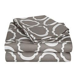 600 Thread Count Twin XL Sheet Set Cotton Rich Scroll Park - Grey/White - 600 Twin XL Sheet Set Cotton Rich Scroll Park - Grey / White