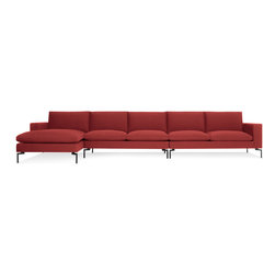 Blu Dot - New Standard Sectional Sofa, Nixon Red and Black - Sometimes it is not about starting from scratch, but rather revisiting past designs and making them better. The New Standard is simplicity at its best with a twist. Now new and improved. Wide arms and inviting loose cushions all come together with tuned proportions and show stopping legs.  Available in four fabrics, two leathers, two leg finishes and an array of shapes to suit any space.Kiln-dried American hardwood frame, High resiliency foam cushions with feather down wrap, White or Black powder-coated steel legs, Sectional connector hardware included , Nixon Blue / Red / Sand: 46% Acrylic / 43% Cotton / 11% Polyester.  Spitzer Grey: 100%