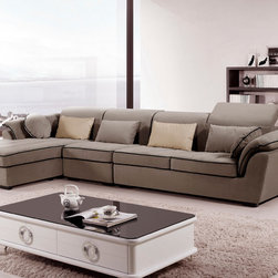 Furniture of America - Furniture of America Amelina 3-piece Modern Suede Adjustable Headrest Sectional - This three-piece modern sectional will make any space more contemporary. It features a solid wood base that enhances its durability,and its suede upholstery and plush fill makes it comfortable. The pillow accents add the perfect finishing touch.
