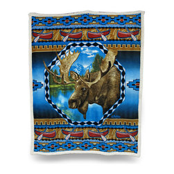 Zeckos - Reversible Moose Ridge Microfiber/Sherpa Throw Blanket 50 In. x 60 In. - There's no better way to avoid a chill while cozying up on the couch or in front of a fire than with this super soft reversible throw blanket Made of 100% polyester, it features a crisp image of a moose surrounded by canoes and a southwest pattern printed on ultra soft microfiber on one side with soft fluffy white sherpa on the reverse, and being double layered means extra warmth for you The generous 50 inch wide by 60 inch long size makes it perfect to cozy up with just about anywhere, it looks great tossed on the bed, couch or chair and is a wonderful complement to outdoorsy decor. This super soft plush throw blanket makes an excellent gift for any nature or wildlife fancier