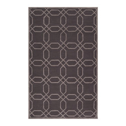 Surya - Mezzo Charcoal and Gray Area Rug - This rug is hand hooked from polyester with low pile and cotton canvas backing. It's extremely durable and easy to care.