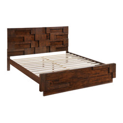 Zuo - San Diego King Bed - The San Diego King Bed is as unique and appealing as the city itself. Crafted of rubberwood with a thick wood veneer, this stylish modern bed features mid-century patterning across it's headboard and footboard. Perfectly scaled to accommodate a king size mattress, the San Diego King Bed makes a statement in a bedroom. This handsome frame has a walnut stain along the it's front, side rails and back, perfect for adding warmth to a contemporary layout. Let the San Diego King Bed bring sophistication to your stylish modern bedroom. The San Diego Collection also features a coordinating double dresser, a high chest of drawers, a night stand, a mirror, and a queen size bed.
