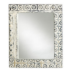 Bambeco - Antique Tin Mirror - Once adorning a ceiling, salvaged to become a breathtaking reflection of who you are—tin ceiling tiles pulled from renovated buildings take on new presence. A scintillating new life. An enchanting reflection. Handcrafted frames enthrall the spirit for stunning style you just want to reach out and touch. Accented with geometric bullseye pattern.