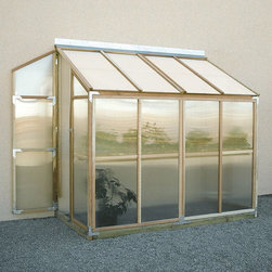 Mallory Co - Sunshine Lean To 4 x 8 Foot Greenhouse Kit - MRY020 - Shop for Greenhouses from Hayneedle.com! Additional FeaturesDoor measures 5.6-feetPeak height measures 7.35H feetComes with 8-feet of wood stagingStaging runs the length of the greenhouseStaging gives you versatility and more planting spaceDoes not take long to assembleComes with a 5-year warrantyThe Sunshine Lean-To 4 x 8-Foot Greenhouse Kit is designed for those who don't have a yard but still love to grow their own fresh produce and plants. Designed to attach to a smooth vertical wall this lean-to greenhouse features two doors one at each end and shatterproof glazed polycarbonate panels that you can cut through with a fine tooth saw if you need more ventilation. Eight-feet of staging are included in this kit giving you versatility in what you grow and it can also double as work station. The clear natural and sturdy redwood frame looks beautiful wherever it's placed so you won't have to worry about your greenhouse being an eye-sore. With a five-year warranty included this is a great choice for anyone looking for a small reliable greenhouse.