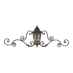 """Savoy House - Bientina Collection Outdoor Wall Light with Ironwork Detail - From Savoy House this distinctive outdoor wall light is part of the Bientina Collection. Traditional European styling includes decorative trims graceful scrolls and acanthus leaf accents. Ironwork-style detail extends from either side of this wall lantern making it a truly decorative addition to your home's exterior. Panes of Tuscan glass are decorated with more ironwork-style detailing. A rich slate finish completes this look. Slate finish. Tuscan glass. Takes three 40 watt candelabra bulbs (not included). 58"""" wide. 19 3/4"""" high. Extends 12"""" from the wall.  Slate finish.   Tuscan glass.   Takes three 40 watt candelabra bulbs (not included).   58"""" wide.   19 3/4"""" high.   Extends 12"""" from the wall."""