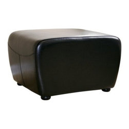 Baxton Studio Nathaniel Square Leather Ottoman - Black - Whether you sit on it or prop your feet up on it, the Baxton Studios Nathaniel Square Leather Ottoman - Black adds a warm, welcoming feel to any room you place it in. Constructed with a strong kiln-dried hardwood frame, this simple and classic ottoman features high-density foam padding for your comfort. It sits on solid rubberwood legs, and it's upholstered in black bi-cast leather, which holds up well to daily use. Panel stitching and a slightly tapered base offer added style and visual interest.About Baxton StudiosThis item is designed and manufactured by Wholesale Interiors, Inc., a furniture company based near Chicago. A lot goes into the making of furniture, and it all starts with attention to details. They hand select their unique line of leather and micro-fiber fabrics. Their furniture is padded with high polyurethane foam to create the body contouring comfort and support for which Baxton Studios is famous. All frames are constructed of high quality wood or steel on select models, providing sturdy frame construction that exceeds industry standards. Wholesale Interiors, Inc. is committed to constantly providing stylish and unique furniture for the best value to help you create a comfortable living space with ease and confidence.