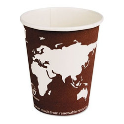 "ECO-PRODUCTS,INC. - World Art Renewable Resource Compostable Hot Drink Cups, 8 Oz, 1000/Carton - Make your cup of coffee a model for green awareness. Lined with compostable, corn Plastic (PLA)means you get a hot cup made with renewable. On product display shows green commitment. Features: -Cup type: Hot. -Capacity (volume): 8 Oz.. -Material: PLA Plastic. -Color: Plum. -Theme: World art. -For use with: Eco-ephl8wr. Dimensions: -23.5"" H x 15"" W x 18.5"" D, 29 lbs."