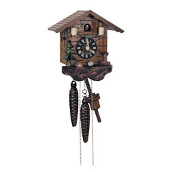 Schneider Cuckoo Clocks - 1-Day Small Rain Barrel Cuckoo Clock in Antique Finish - Chalet style. 1-day rack strike movement. Wooden cuckoo, dial with roman numerals and hands. Cuckoo calls and strikes every half and full hour. Shut-off lever on left side of case silences strike, call and music. Made from wood. Made in Germany. 7.5 in. W x 5.5 in. D x 7.5 in. H (3.3 lbs.). Care Instructions