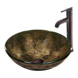 Vigo - Vigo Sintra Glass Vessel Sink and Faucet Set, Oil Rubbed Bronze (VGT129) - Vigo VGT129 Sintra Glass Vessel Sink and Faucet Set, Oil Rubbed Bronze