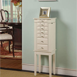 None - Diamante White 6-Drawer Jewelry Armoire - Tapered legs and a versatile white finish highlight this Diamante 6-drawer jewelry armoire. A flip-top compartment with inset mirror completes this elegant armoire.