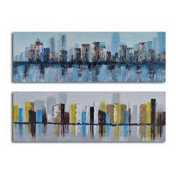 """My Art Outlet - Duo Of Waterlogged City Hand Painted Canvas Wall Art - Size: 20"""" x 60"""" x 2pc (20"""" x 60"""" x 2pc). Enjoy a 100% Hand Painted Wall Art made with oil and acrylic paints on canvas stretched over a 1"""" thick inner wooden frame. The painting is gallery wrapped and ready to hang out of the box. A very stylish addition to any room that is sure to get the attention of guests."""